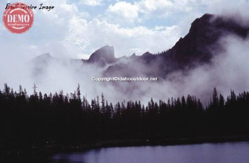 Elephant's Perch, Fog, Alpine Lake Sawtooth Mountains