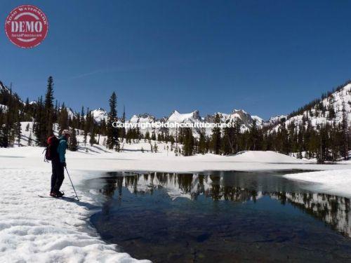 Skier Frozen Alice Lake Waters