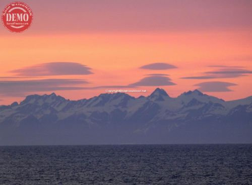 Alaska Alpine Glow Coastal Waters